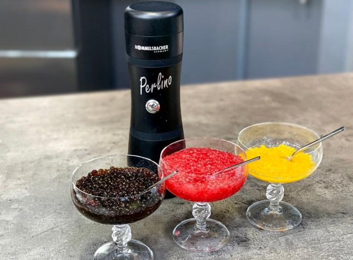 Perlino Food Designer mit schwarz rot gelben Fruchtkaviar Geleeperlen - Modell FD 500 Rommelsbacher