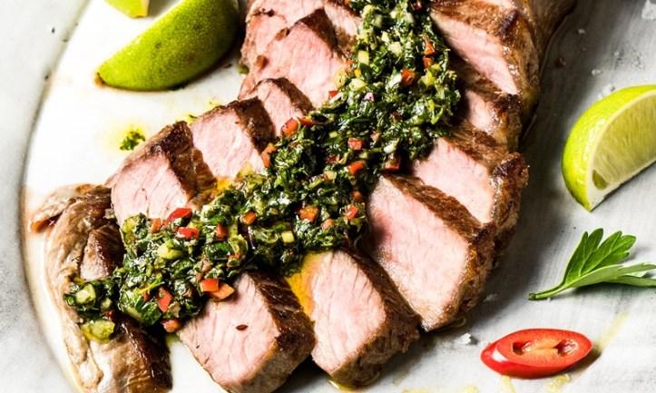 Roastbeef Steak mit Chimichurri - grillen auf Ceran Glas