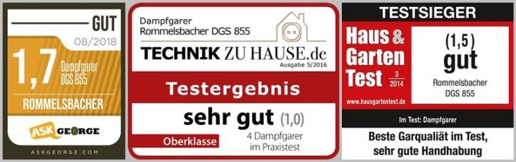 drei Testlogos für Rommelsbacher DGS 855 Dampfgarer