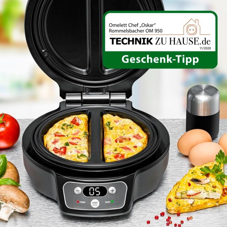 Omelett Chef von Rommelsbacher - zwei Omeletts gleichzeitig backen mit OM 950 Oskar - Geschenktipp von Technik zu Hause