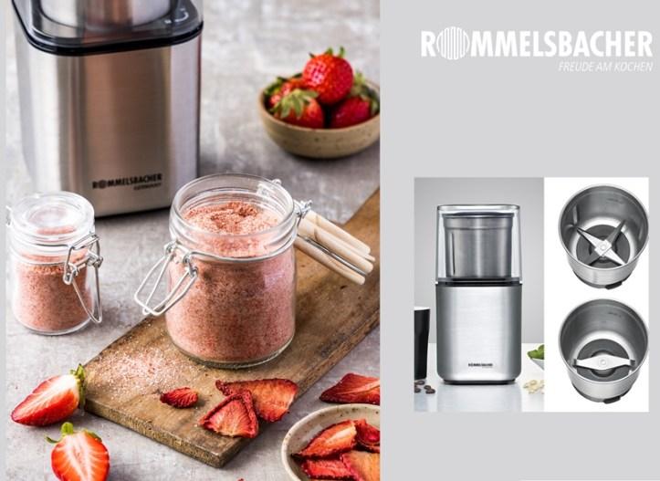 Erdbeer Brausepulver selber machen - mit Gewürzmühle von Rommelsbacher