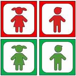 Ampelmännchen und -frauen bei Rot und Grün