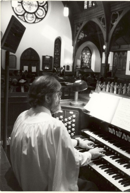 Ron at Console of Skinner Organ, Ascension Church, Mt Vernon, NY, 2000