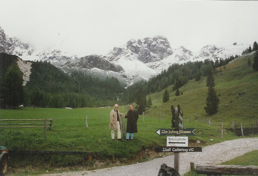 """R2(on right) and cousin use the """"awesome"""" view of the Alps from outside Filzmoos, Austria as a backdrop."""