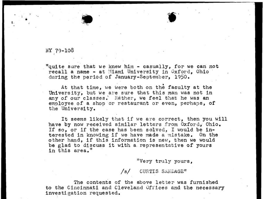 Sandage letter to CID, page 2