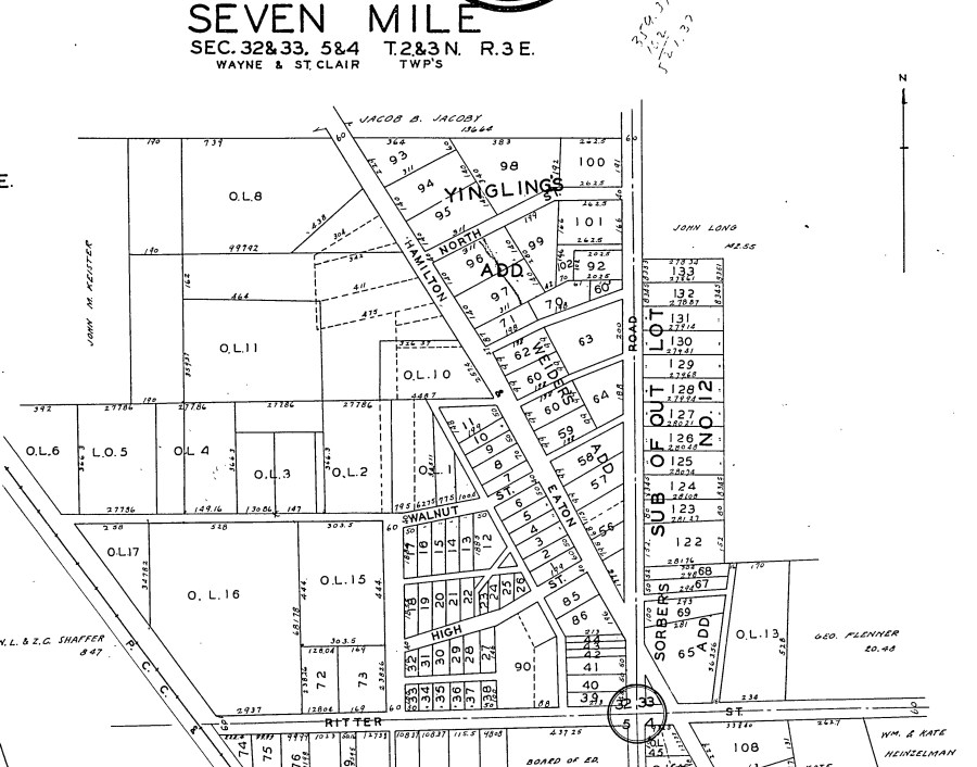 1930 atlas of Seven Mile