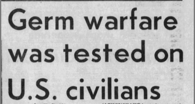 Germ warfare tested on US civilians, p1 -- 3-9-77