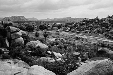 Ruins of a huge market place, one of many in Hampi