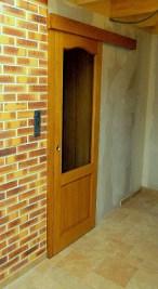 Porte bois et verre coulissante en applique en ap