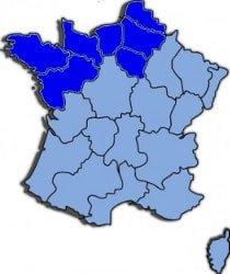 Kaart Noord west Frankrijk