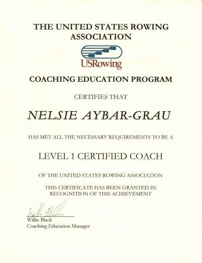 1 Level 1 Certificate for Nelsie