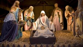 Nativity scene on the town common in Greenfield, MA