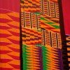 Colorful kente cloth produced in the weaving craft village of Adanwomase