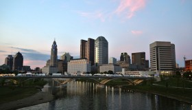 Downtown City skyline along the River, Columbus, Ohio, USA