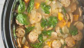 Crock Pot Sausage, Spinach & White Bean Soup