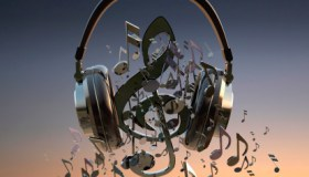 musical notes with headphones