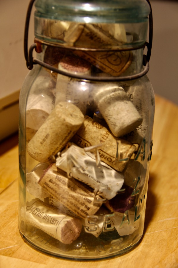 Grandma's old canning jar with wine corks that will be used in later projects.