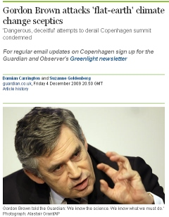 "Gordon Brown begs the question: ""We know the science."""