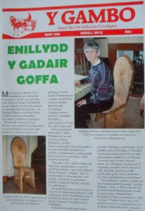 Article in the local paper with Philippa and the chair