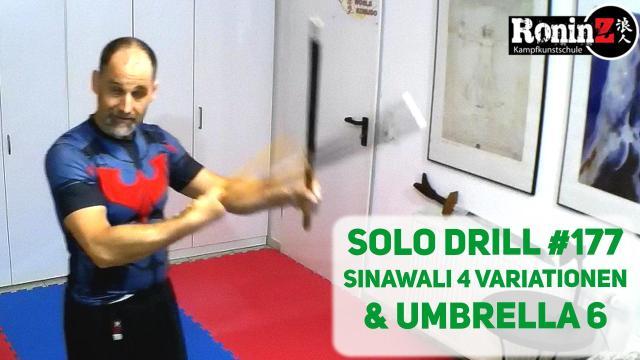 Solo Drill 177 Sinawali 4 Variationen & Umbrella 6