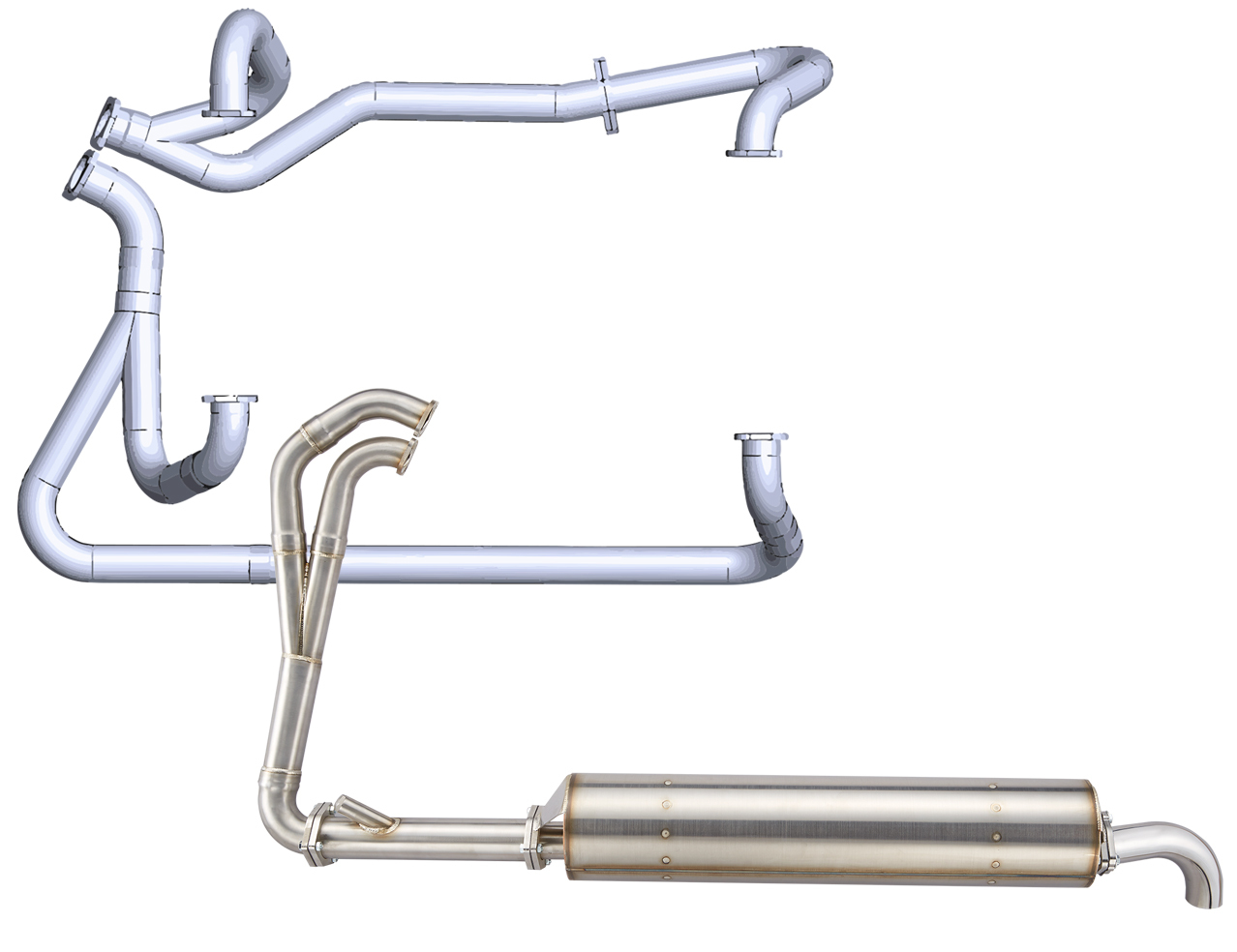 vw t3 2 1l power exhaust system from header to tail pipe