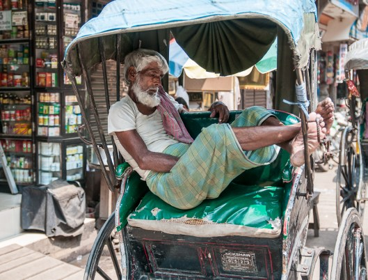 Rickshaw Wallah Dreaming of Better Times - Calcutta, India