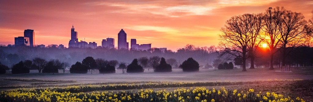 Sunrise over Raleigh, NC from Dix Park