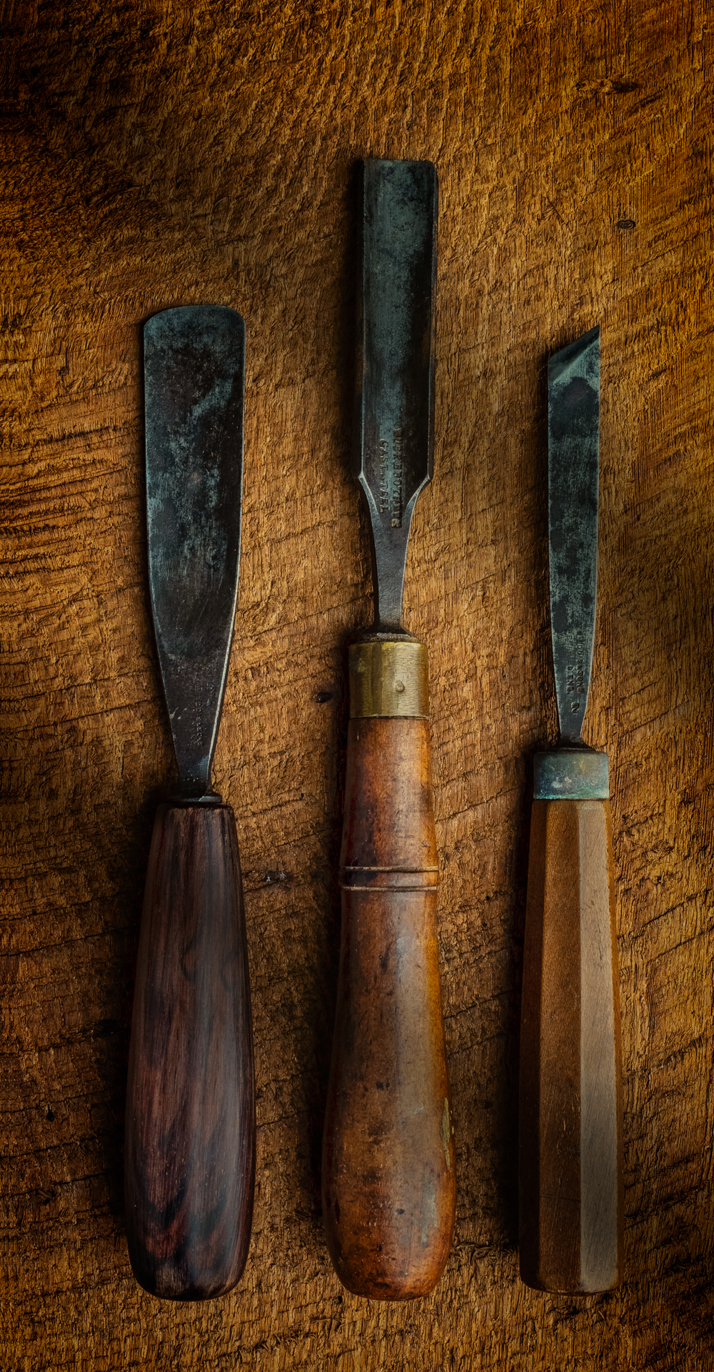 Old Woodworking Tools. Two Gouges and A Skew Chisel