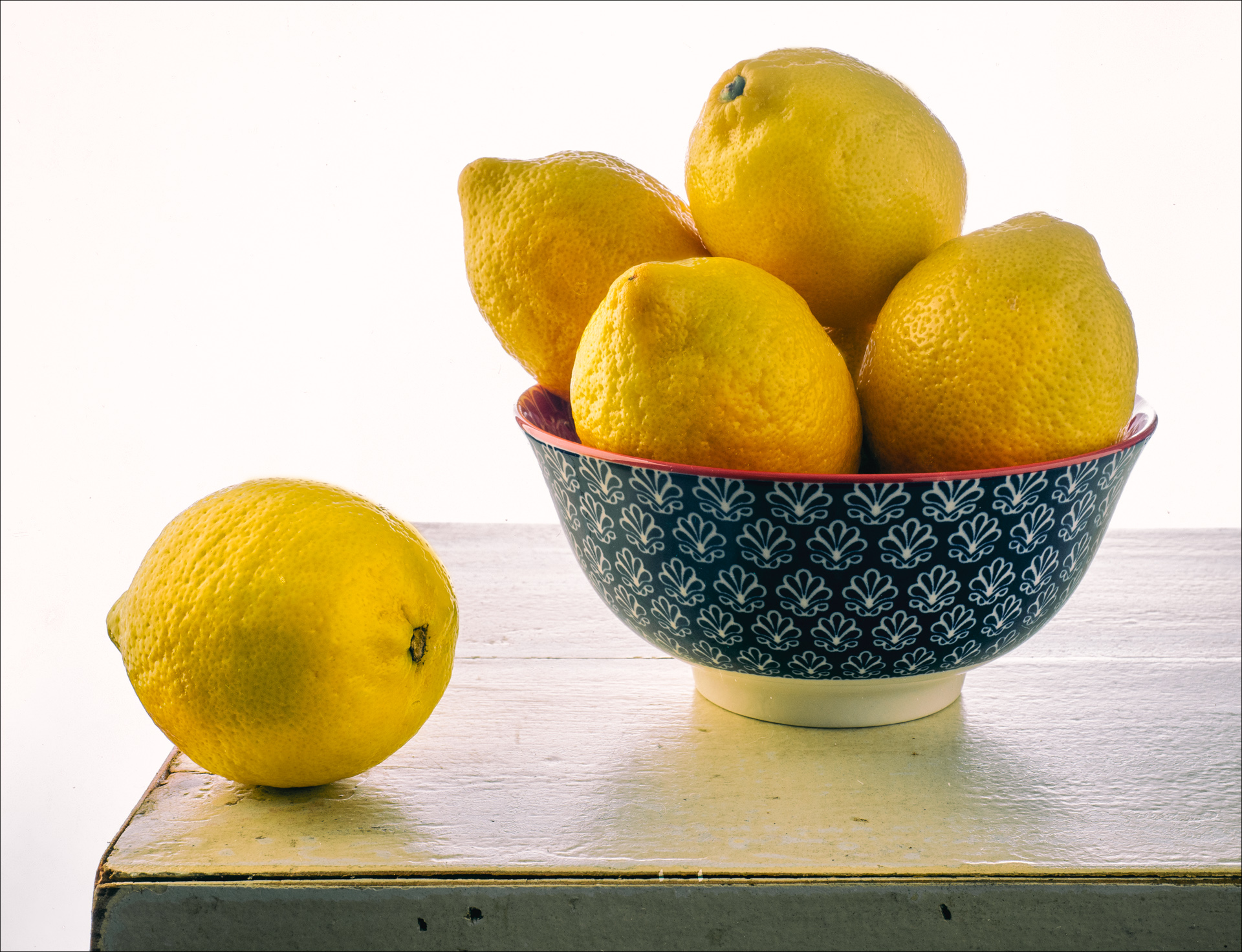 Still Life with Lemons, a bowl of lemons on a table