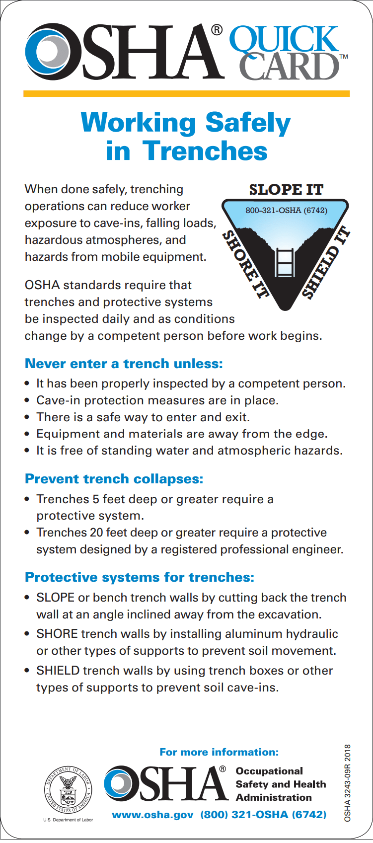 OSHA QUICKCARD™: WORKING SAFELY IN TRENCHES