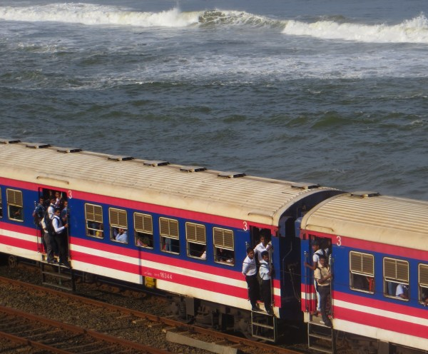 The view from our room -trains and the Indian Ocean