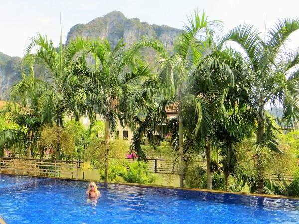 Mare enjoying the pool at the Ao Nang Cliff Beach Resort