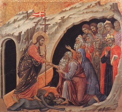 """""""The Descent to Hell,"""" by Duccio di Buoninsegna, Panel from the Maesta Altarpiece of Siena, 1308-11."""