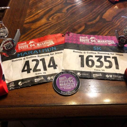 Medals and bibs route 66