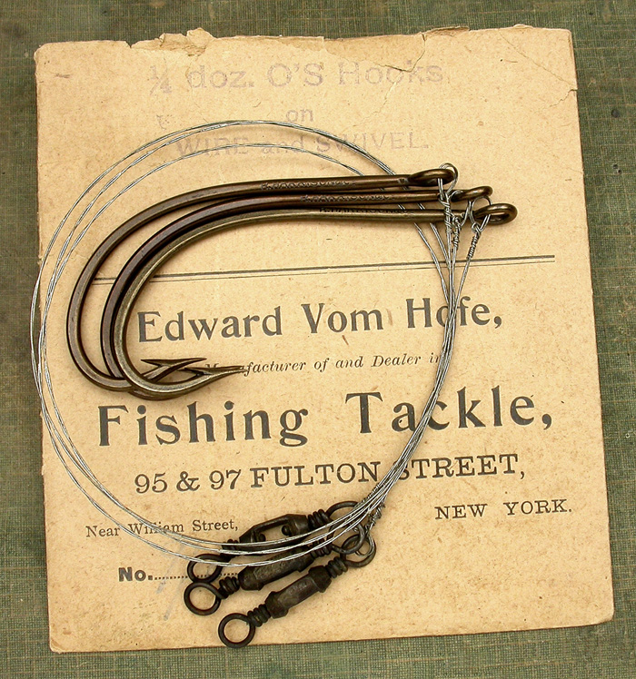 1. Edward Vom Hofe, marked 9/0 but I'd say they are closer to 10/0. R Harrison & co., Redditch, bronzed, two ply wire snell, ring eye. Beautiful hooks.