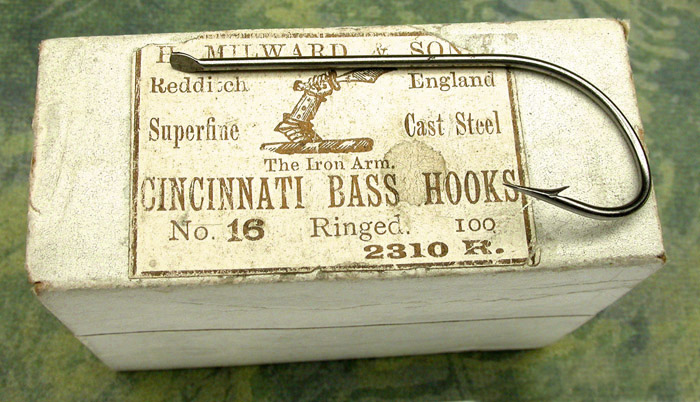 10a  H. Milward & Son, Cincinnati Bass hooks, #2310 R., #16, bright finish, kerbed, flatted & embossed M (box says ringed but actually contains these), Redditch England. 1. Stearns Collection.