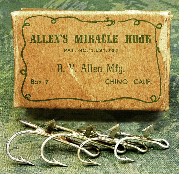 11. Allen's Miracle Hook, pat. No 2,591,764, R V Allen Mfg., Box 7, Chino Calif. I suspect that these hooks were made with the arrow to hold pork rind. There is nothing on the box to indicate otherwise.
