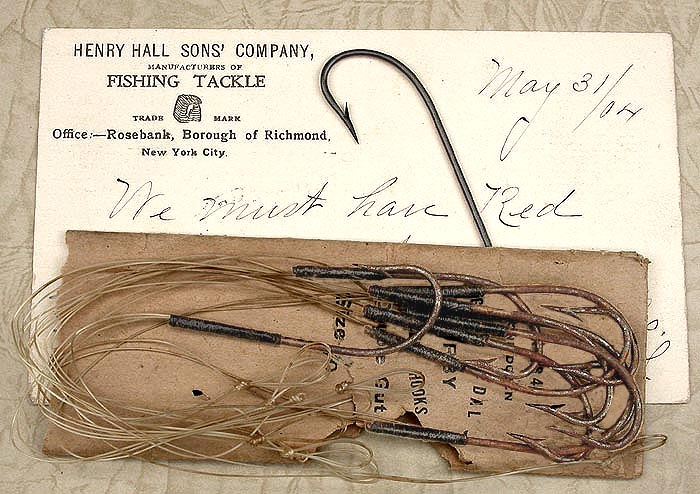 13. Gold Medal, kirby, double gut, were tinned but most of the tin is gone and hooks have surface rust. The hook on the card has been cleaned and japanned.