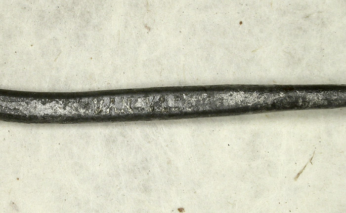 21b E Vom Hofe, Van Vleck, 11/0, tinned, forged, needle eye, links & snell, knife edge, ca 1900.