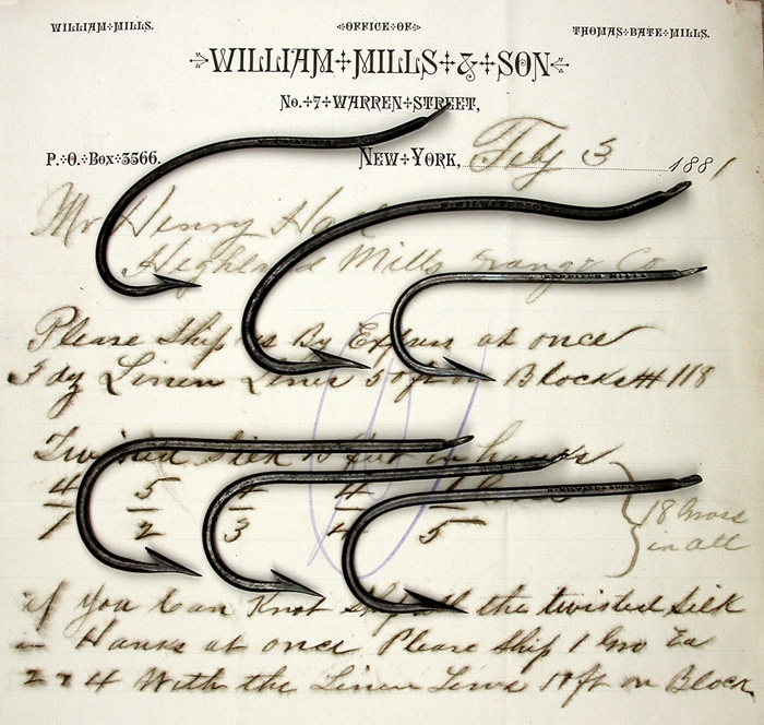 Six very old hooks & Wm Mills letter.