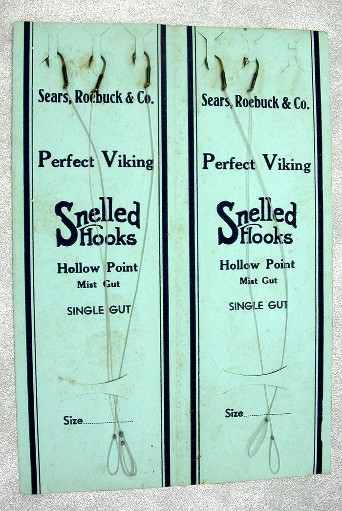 42. Sears, Roebuck & Co., snelled hooks, Perfect Viking, hollow point, single gut.