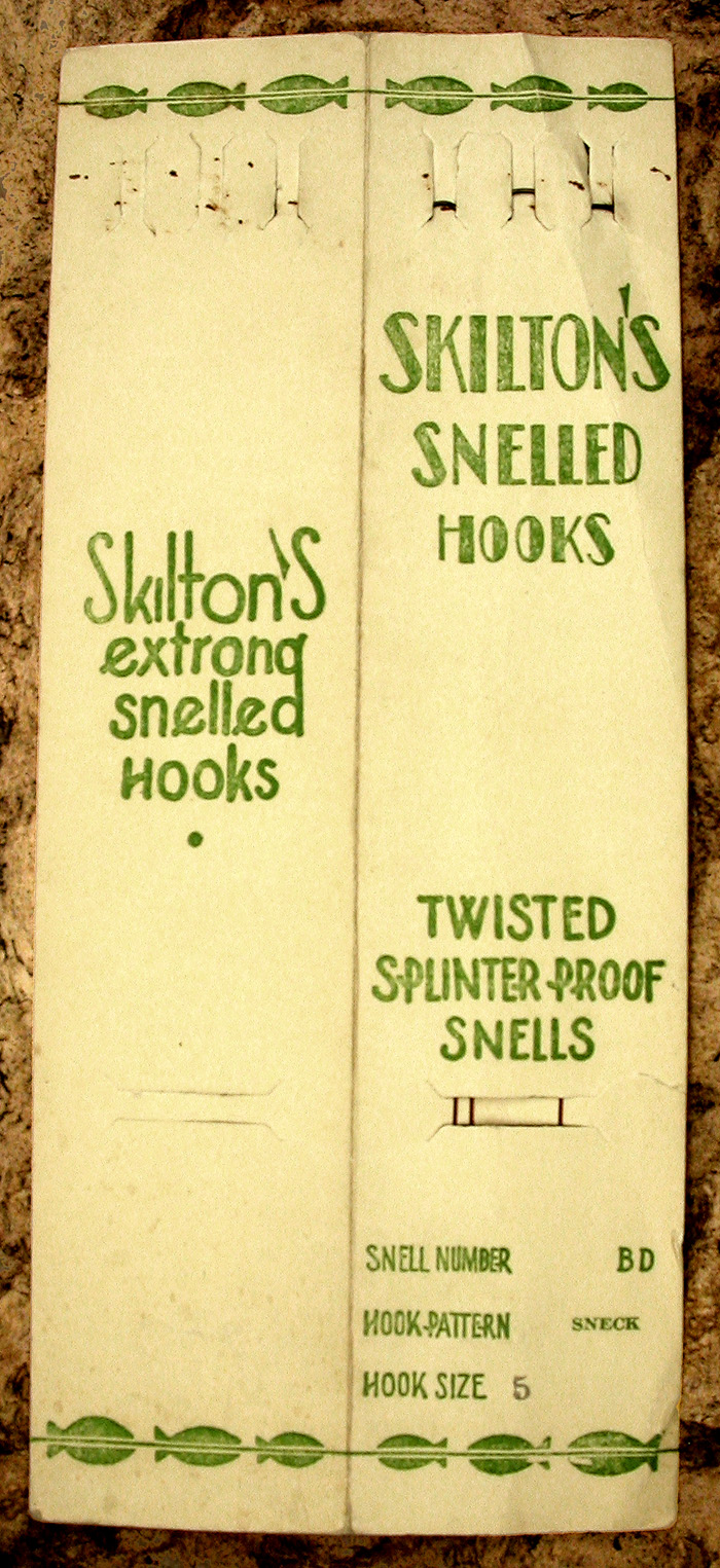 55a. Skilton's, #5, sneck, twiste splinter proof snells, snell number BD, hollow point, bronzed.