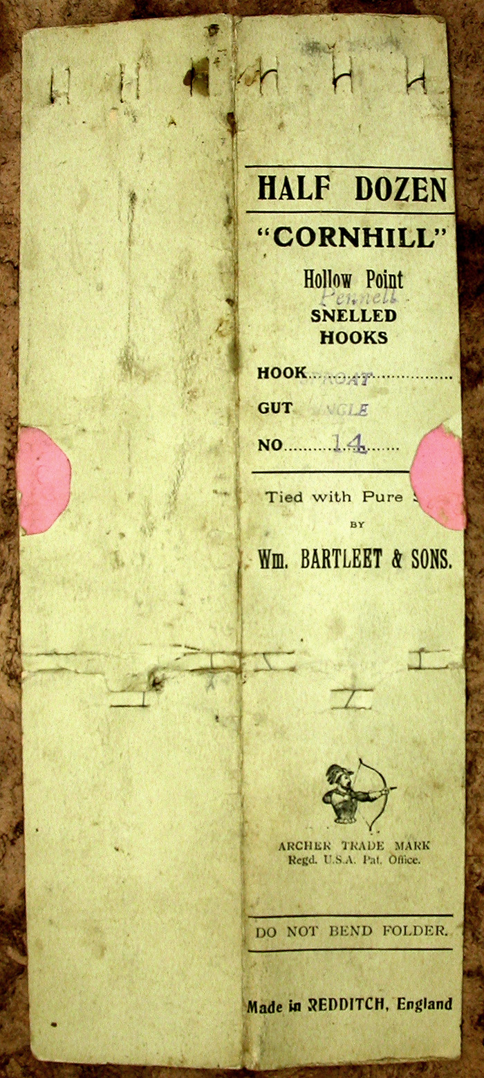 56a  Wm. Bartleet & Sons, Cornhill, Hollow point Pennell, sproat, single gut, #14, bronzed. This is a pretty shabby packet of hooks but until I get a better one, it will have to do.