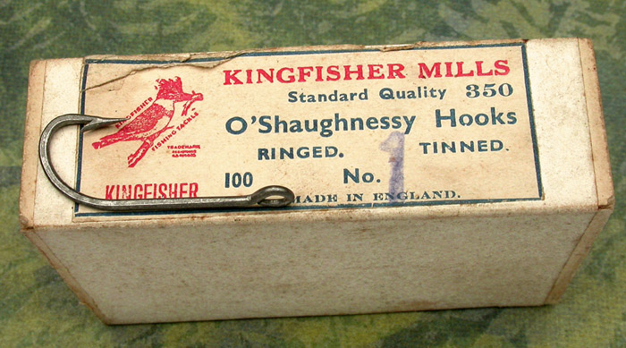 "7. Kingfisher Mills, #350, #1, O'Shaughnessy, forged, Dublin point, tinned, ringed straight eye 1 11/32"" long, England."