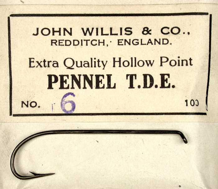 "8b John Willis & Co., #6, hollow point, Pennel Turn down eye, bronzed, 15/16"" long, Redditch England."