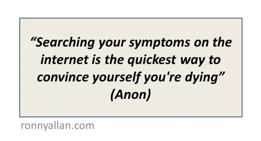 Searching your symptoms on the internet is