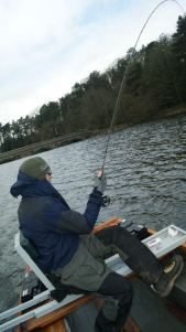 Kieron Jenkins Playing a Fish Blagdon