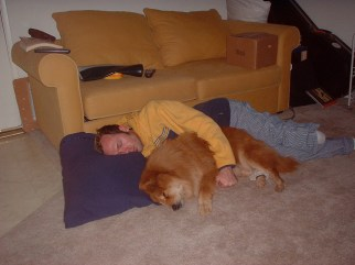 Ken and Quantum (Q, as we called her) snuggled up. 2002ish