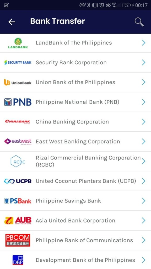 List of banks which are fund transfer-ready via InstaPay