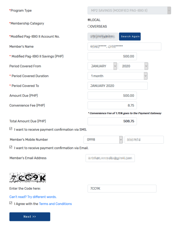 Pay MP2 with details indicated